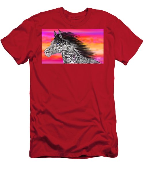 Men's T-Shirt (Slim Fit) featuring the painting Sunset Ride Tribal Horse by Nick Gustafson