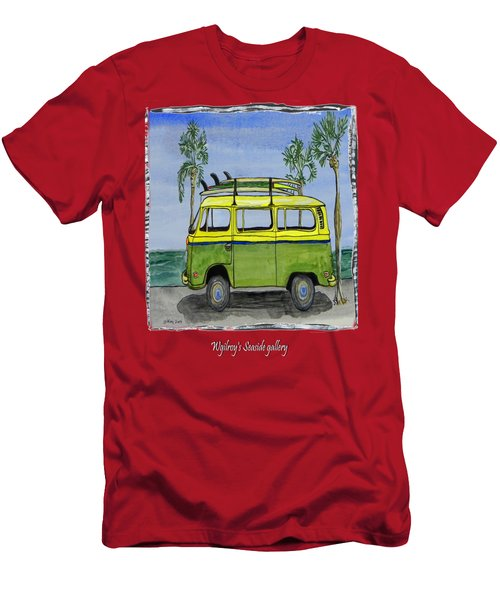 Surf Art Vw Bus And Long Boards  Men's T-Shirt (Athletic Fit)