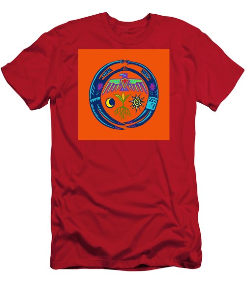 Men's T-Shirt (Athletic Fit) featuring the digital art Sw Shaman Eagle Rain Dance by Vagabond Folk Art - Virginia Vivier