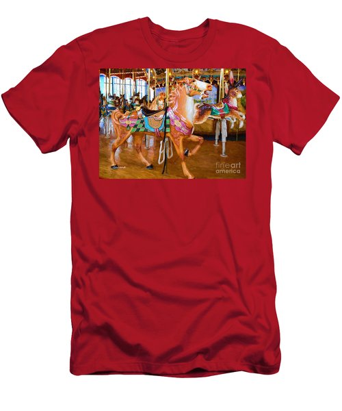 Tan Carousel Horse Impasto Painting Men's T-Shirt (Athletic Fit)