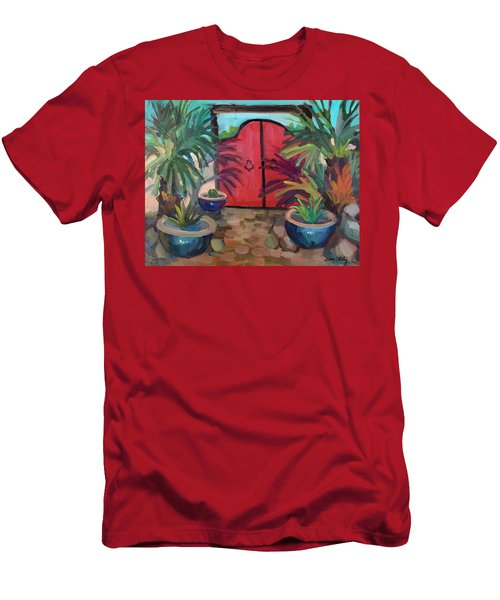 Men's T-Shirt (Slim Fit) featuring the painting Tecate Garden Gate by Diane McClary