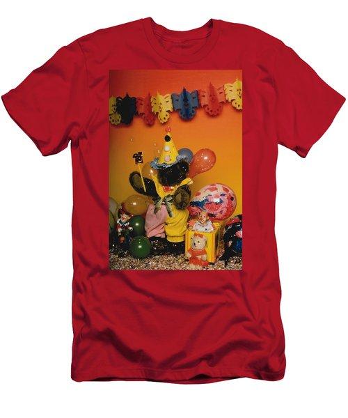 Teddy Bear Celebrates, Birthday Teddy Bear Men's T-Shirt (Athletic Fit)