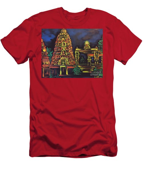 Men's T-Shirt (Slim Fit) featuring the painting Temple Lights In The Night by Brindha Naveen