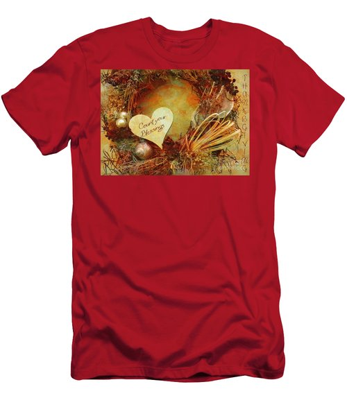 Men's T-Shirt (Athletic Fit) featuring the digital art Thanksgiving Card 2016 by Kathryn Strick