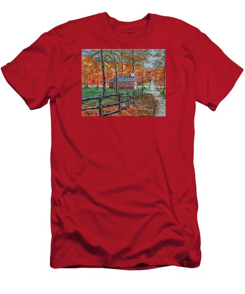 The Brick Country Schoolhouse Men's T-Shirt (Slim Fit) by Mike Caitham