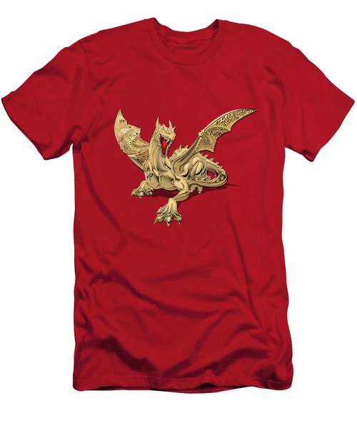The Great Dragon Spirits - Golden Guardian Dragon On Red And Black Canvas Men's T-Shirt (Slim Fit) by Serge Averbukh