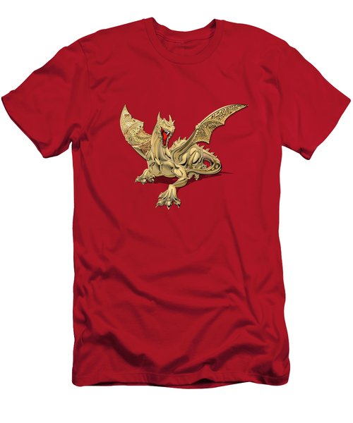 The Great Dragon Spirits - Golden Guardian Dragon On Red And Black Canvas Men's T-Shirt (Athletic Fit)