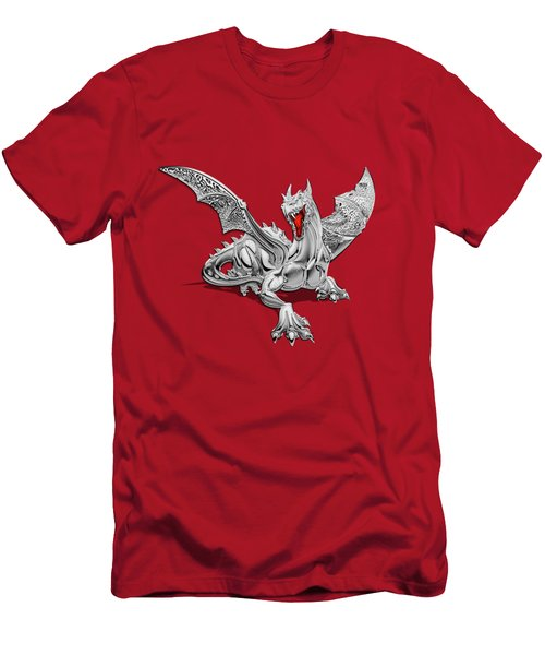 The Great Dragon Spirits - Silver Guardian Dragon On Black And Red Canvas Men's T-Shirt (Slim Fit) by Serge Averbukh