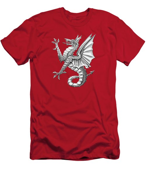 The Great Dragon Spirits - Silver Sea Dragon Over Red Canvas Men's T-Shirt (Athletic Fit)