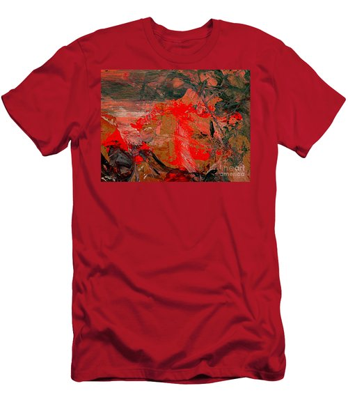 Men's T-Shirt (Slim Fit) featuring the painting The Red Garden by Nancy Kane Chapman