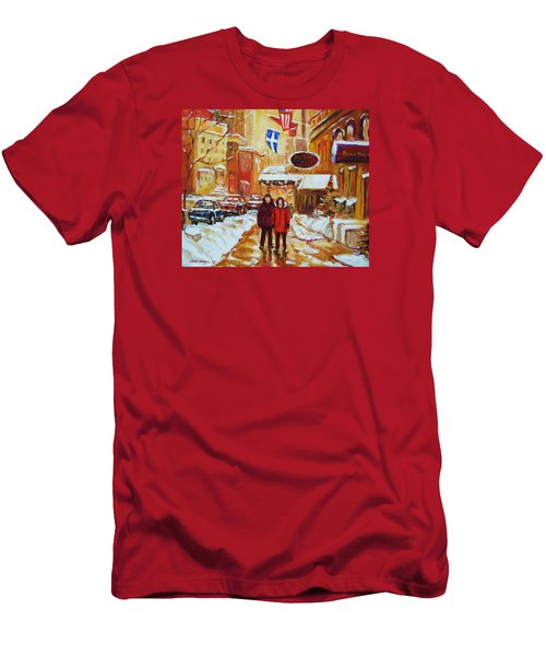 Men's T-Shirt (Slim Fit) featuring the painting The Ritz Carlton by Carole Spandau