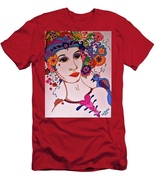 Men's T-Shirt (Slim Fit) featuring the painting The Songbird by Alison Caltrider
