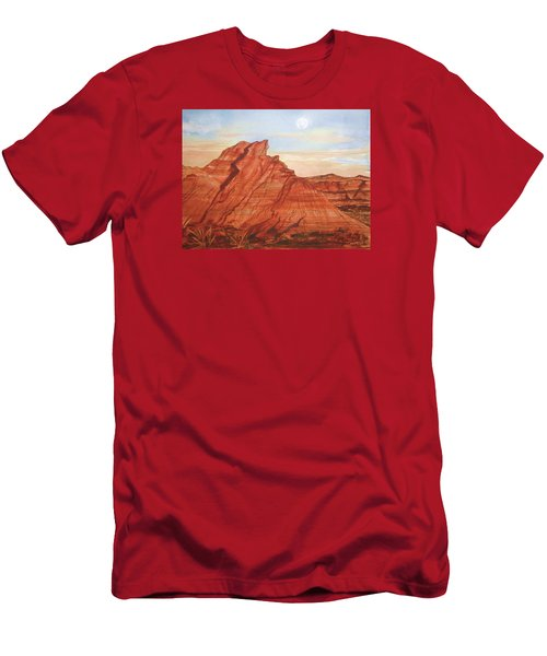 Men's T-Shirt (Slim Fit) featuring the painting The Teepees by Ellen Levinson