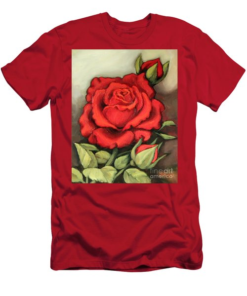 The Very Red Rose Men's T-Shirt (Slim Fit) by Inese Poga
