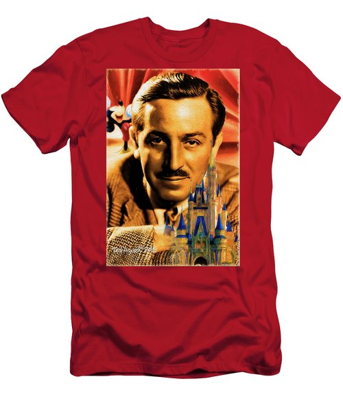 Men's T-Shirt (Slim Fit) featuring the painting The World Of Walt Disney by Ted Azriel
