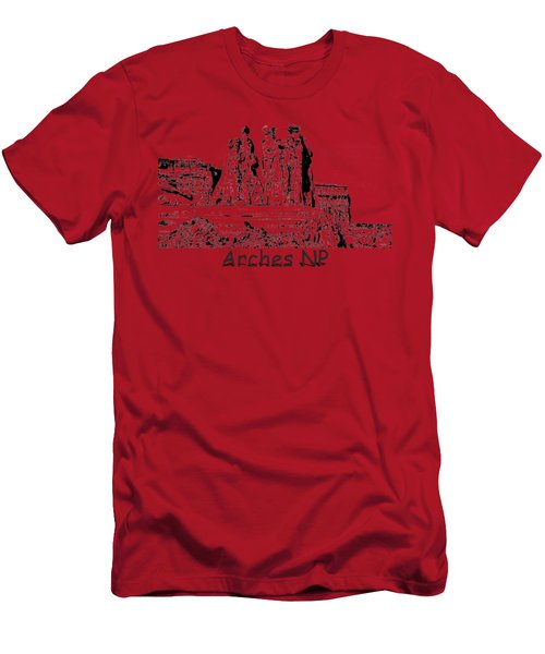 Three Gossips Drawing At Arches Men's T-Shirt (Athletic Fit)