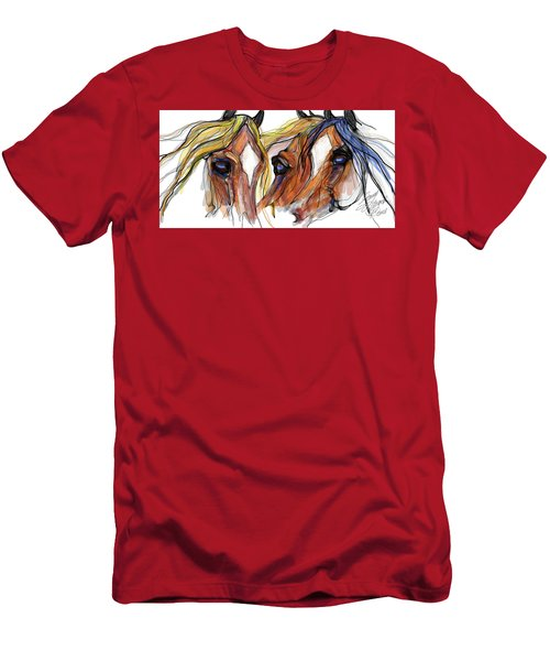 Three Horses Talking Men's T-Shirt (Athletic Fit)