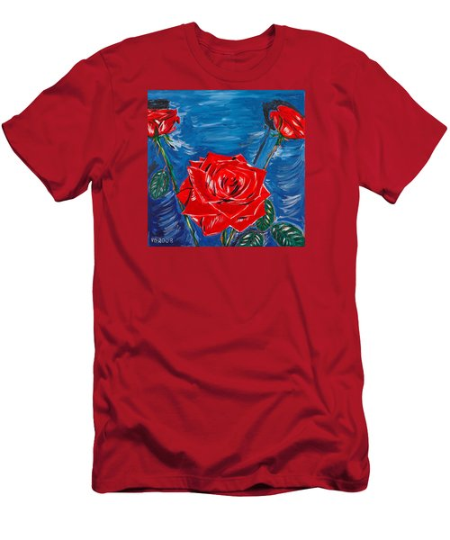 Three Red Roses Four Leaves Men's T-Shirt (Athletic Fit)