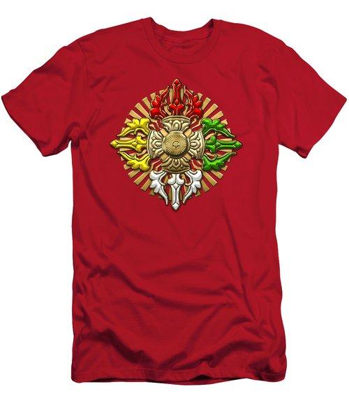 Tibetan Double Dorje Mandala - Double Vajra On Black And Red Men's T-Shirt (Athletic Fit)