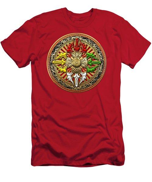 Tibetan Double Dorje Mandala - Double Vajra On Red Leather Men's T-Shirt (Athletic Fit)