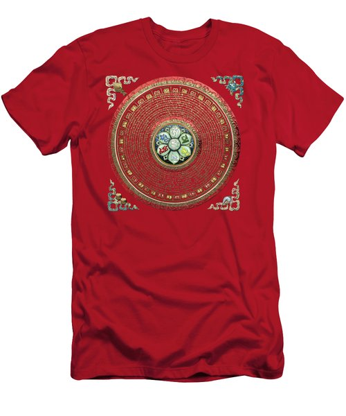 Tibetan Om Mantra Mandala In Gold On Black And Red Men's T-Shirt (Athletic Fit)