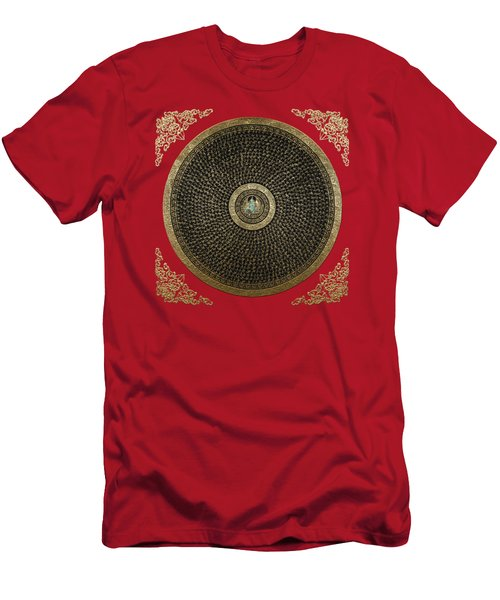 Tibetan Thangka - Green Tara Goddess Mandala With Mantra In Gold On Red Men's T-Shirt (Athletic Fit)