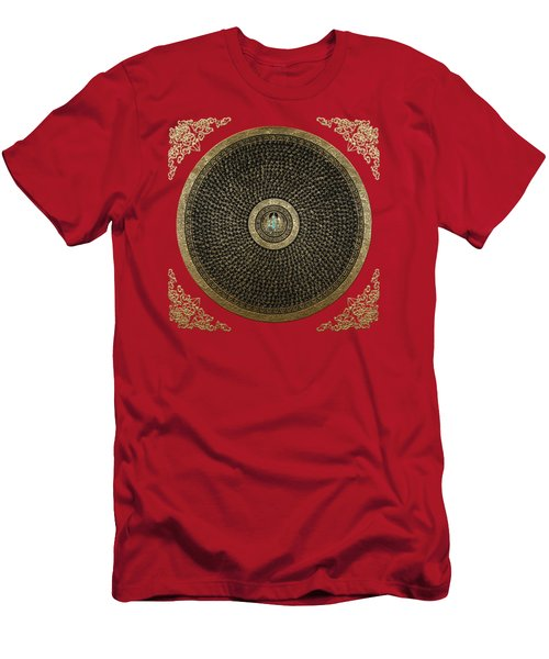 Tibetan Thangka - Green Tara Goddess Mandala With Mantra In Gold On Red Men's T-Shirt (Athletic Fit)