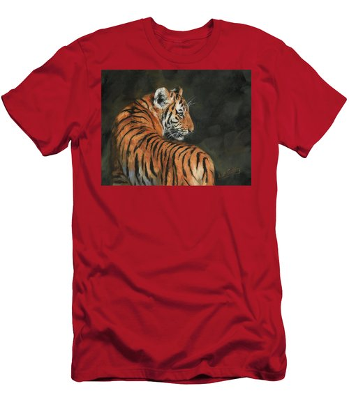 Men's T-Shirt (Slim Fit) featuring the painting Tiger At Night by David Stribbling
