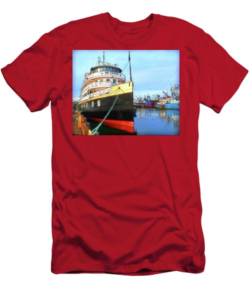 Tour Boat At Dock Men's T-Shirt (Slim Fit) by Tobeimean Peter