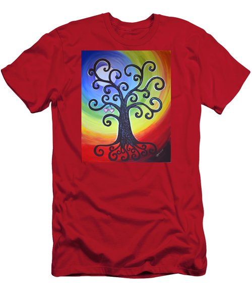Men's T-Shirt (Slim Fit) featuring the painting Tree Of Life Love And Togetherness by Agata Lindquist