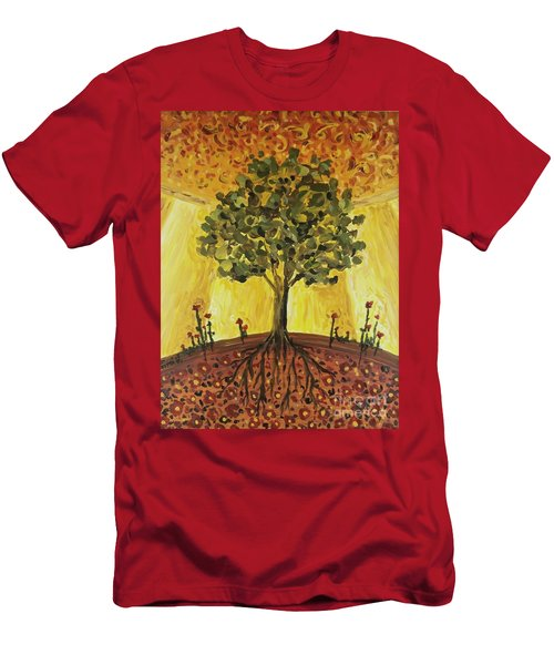 Men's T-Shirt (Athletic Fit) featuring the painting Tree Of Life by Maria Langgle