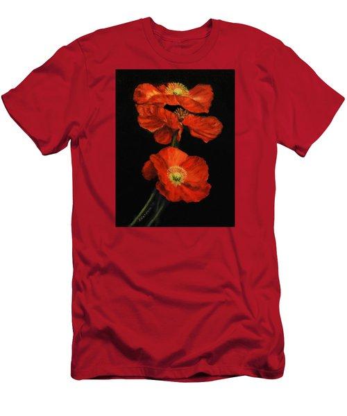 Men's T-Shirt (Slim Fit) featuring the painting Poppy Trio by Sandra Nardone