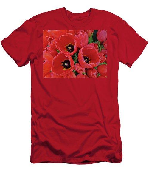 Men's T-Shirt (Slim Fit) featuring the photograph Tulip Parade by Suzy Piatt