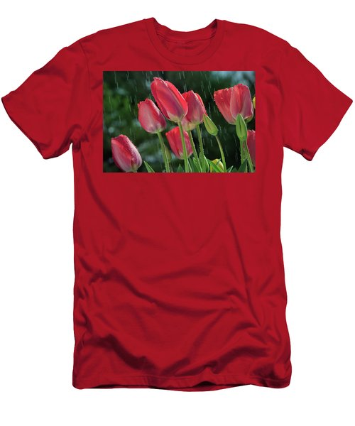 Men's T-Shirt (Athletic Fit) featuring the photograph Tulips In The Rain by William Lee