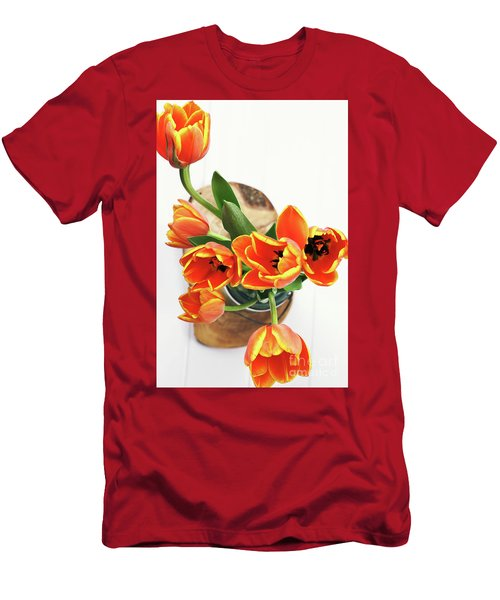 Men's T-Shirt (Slim Fit) featuring the pyrography Tulips by Stephanie Frey