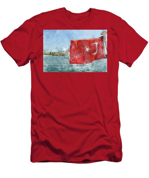 Turkish Flag Men's T-Shirt (Athletic Fit)