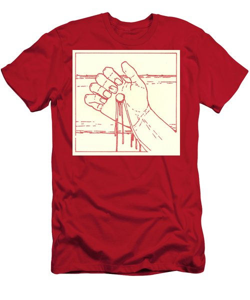 Men's T-Shirt (Athletic Fit) featuring the drawing Twelfth Station- Jesus Is Raised Upon The Cross And Dies  by William Hart McNichols