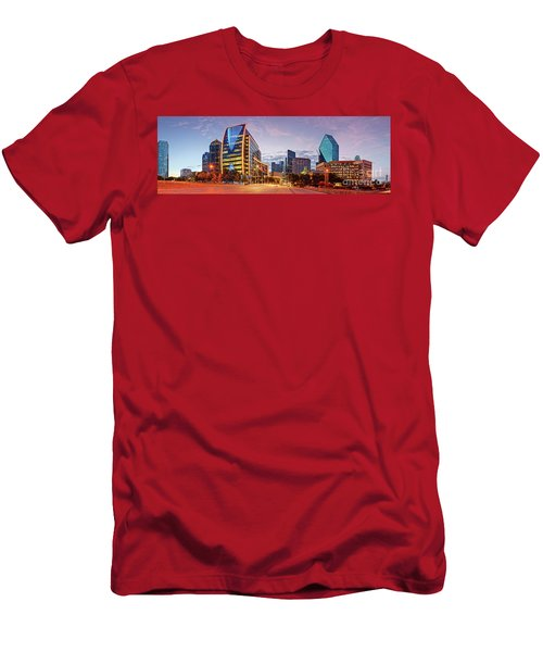 Twilight Panorama Of Downtown Dallas Skyline - North Akard Street Dallas Texas Men's T-Shirt (Athletic Fit)