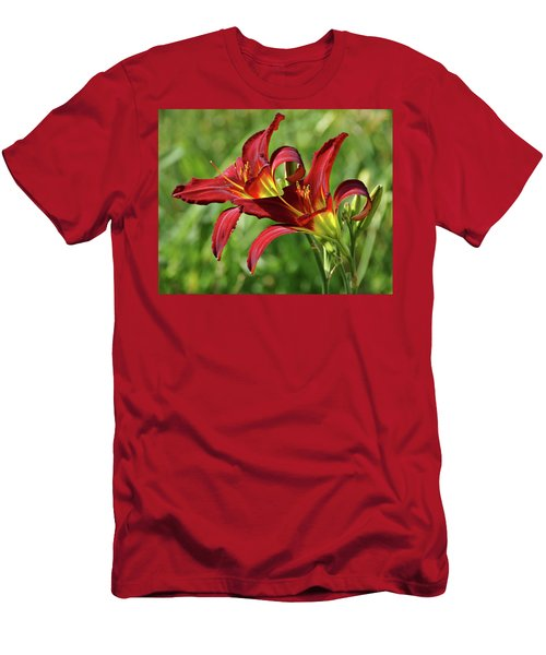 Men's T-Shirt (Slim Fit) featuring the photograph Twin Daylilies by Sandy Keeton