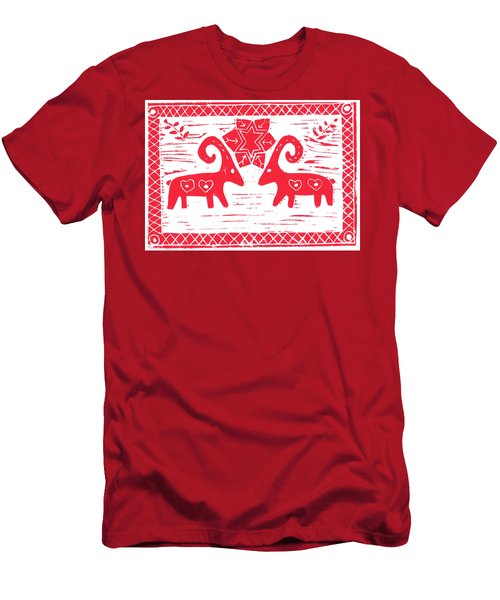 Two Swedish Yule Goats Men's T-Shirt (Athletic Fit)
