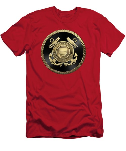 U. S.  Coast Guard  -  U S C G Emblem Black Edition Over Red Velvet Men's T-Shirt (Athletic Fit)