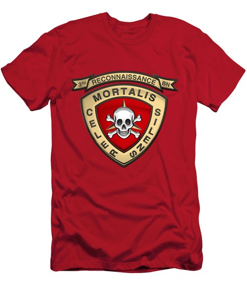 U S M C  3rd Reconnaissance Battalion -  3rd Recon Bn Insignia Over Red Velvet Men's T-Shirt (Athletic Fit)