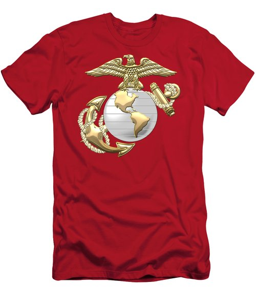 U. S. Marine Corps Eagle Globe And Anchor - E G A On Red Leather Men's T-Shirt (Athletic Fit)