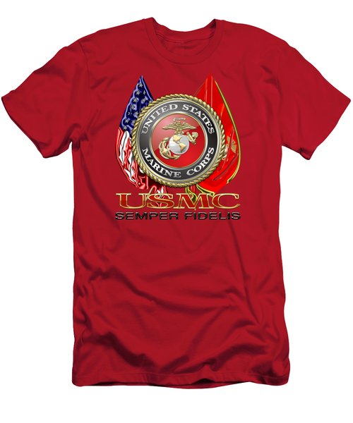 U. S. Marine Corps U S M C Emblem On Red Men's T-Shirt (Athletic Fit)