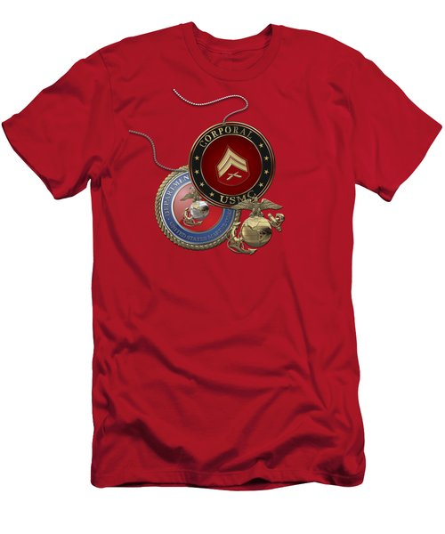 U. S.  Marines Corporal Rank Insignia Over Red Velvet Men's T-Shirt (Athletic Fit)