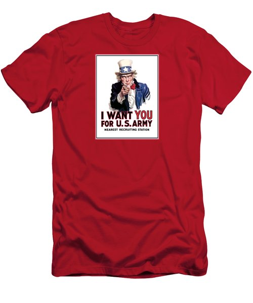 Uncle Sam -- I Want You Men's T-Shirt (Slim Fit) by War Is Hell Store