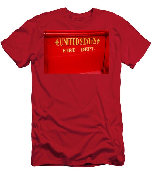 Men's T-Shirt (Slim Fit) featuring the photograph United States Fire Department Engine by Toni Hopper