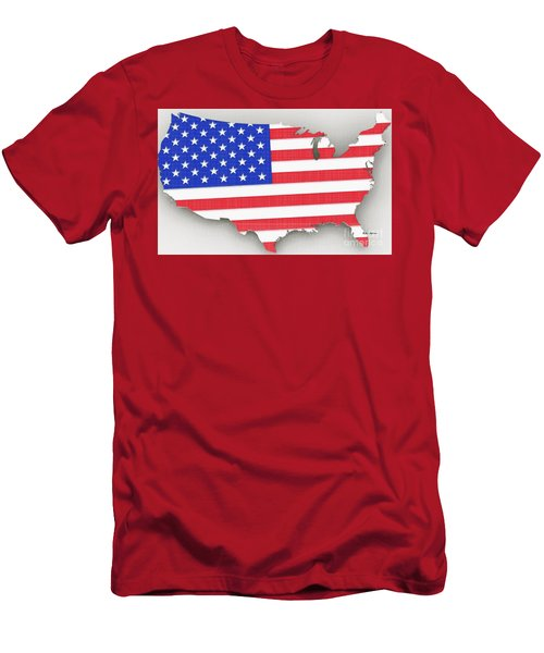 Men's T-Shirt (Athletic Fit) featuring the digital art Usa Map  by Rafael Salazar