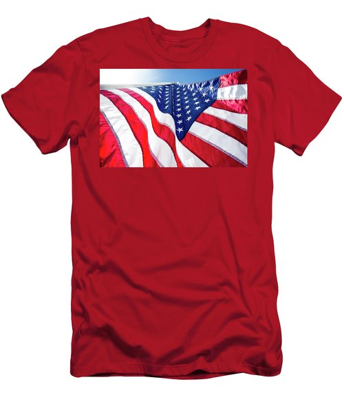 Usa,american Flag,rhe Symbolic Of Liberty,freedom,patriotic,hono Men's T-Shirt (Slim Fit) by Jingjits Photography