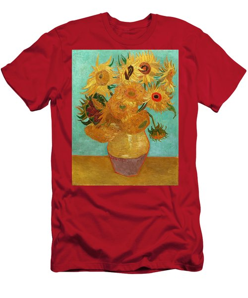 Men's T-Shirt (Athletic Fit) featuring the painting Vase With Twelve Sunflowers by Van Gogh